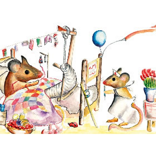 Ecobos shop greeting card get well mouse hospital floris cards with a message m4hsunfo